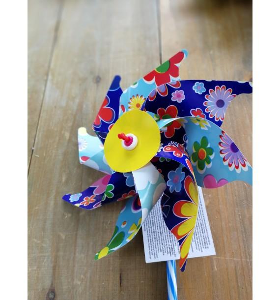 Moulins à vent 16 cm Fleurs bleu