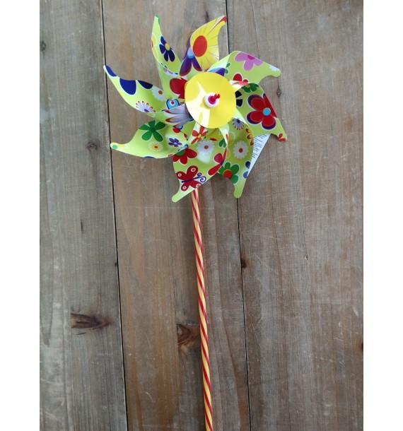 Moulins à vent 16 cm Fleurs Jaune